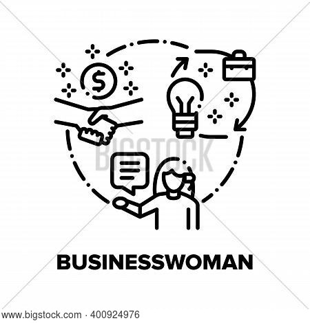 Businesswoman Vector Icon Concept. Businesswoman Business Idea And Work Process Management, Partners