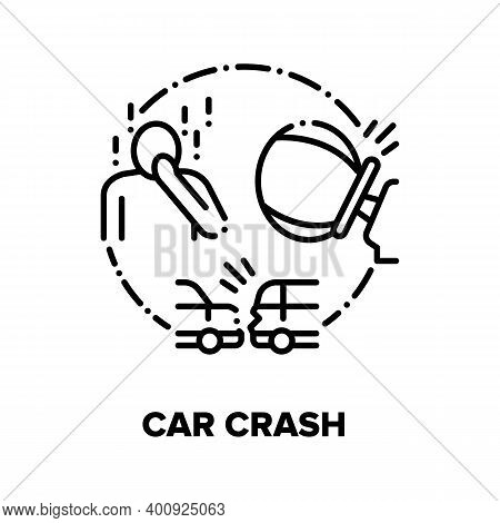 Car Crash, Traffic Accident Vector Icon Concept. Automobile Crash, Airbag Deploying, Driver And Pass