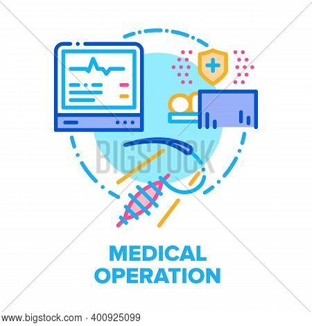 Medical Operation Patient Vector Icon Concept. Medicine Operation Electronic Equipment For Monitorin