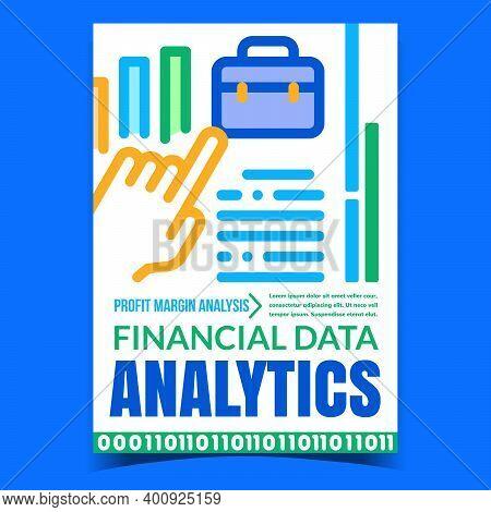 Financial Data Analytics Promotion Poster Vector. Financial Profit Margin Analysis Advertising Banne
