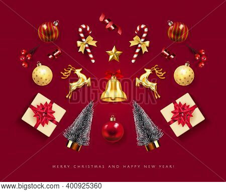Christmas Greeting Card With Holiday Objects Isolated In Red Background. Xmas Card. Merry Christmas