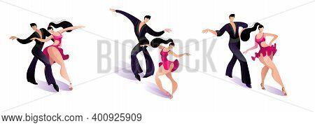 Beautiful Couple Dancing Latin American Dance Of Samba. A Set Of Images Of Dancing Couples. Vector I