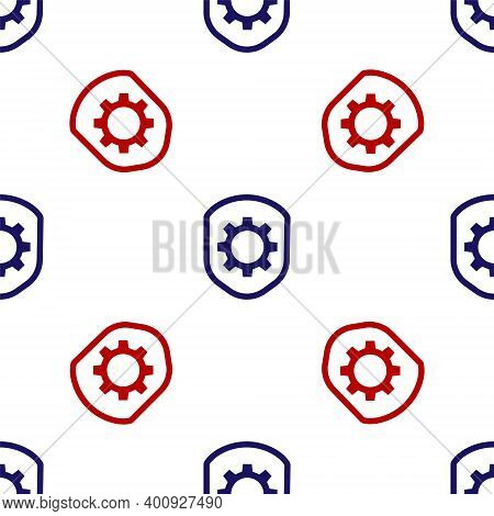 Blue And Red Shield With Settings Gear Icon Isolated Seamless Pattern On White Background. Adjusting