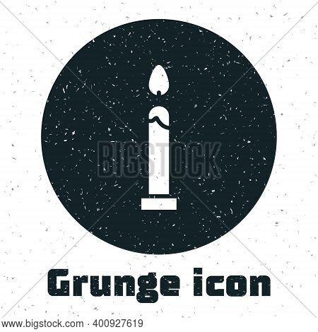 Grunge Burning Candle Icon Isolated On White Background. Cylindrical Candle Stick With Burning Flame