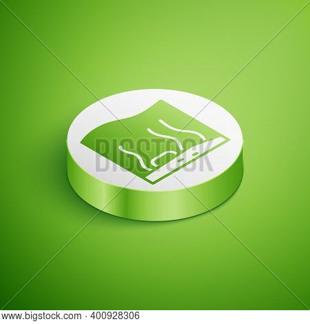 Isometric Aquarium Icon Isolated On Green Background. Aquarium For Home And Pets. White Circle Butto