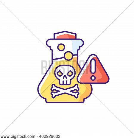 Chemical Poisoning Rgb Color Icon. Cleaning Supplies. Toxic Household Products. Overdose On Vitamins