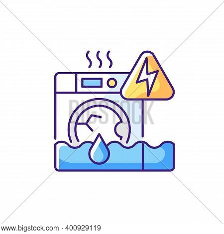Household Appliances Malfunction Rgb Color Icon. Washing Machine, Dishwasher. Appliance Breakdown. T