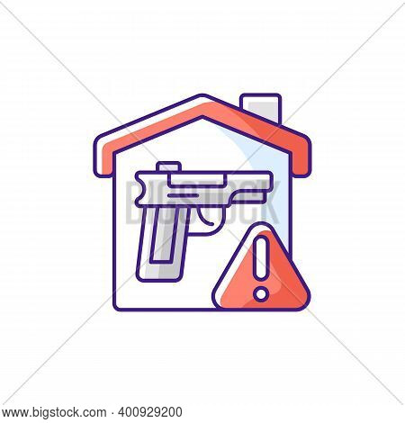 Weapons Storage Rgb Color Icon. Home Defense. Safe Gun Storage. Preventing Unauthorized Access To Fi