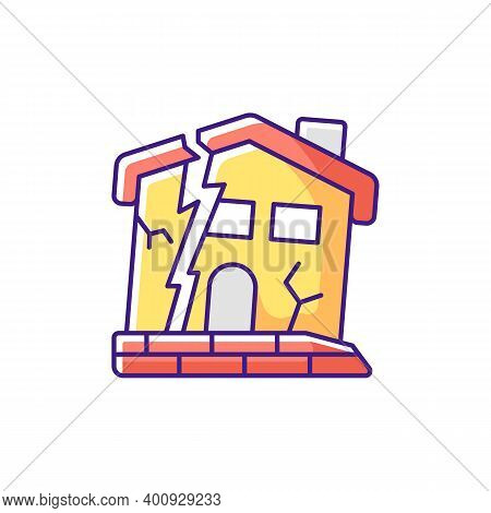 Dilapidated House Rgb Color Icon. Abandoned Buildings. Dangers In Old Houses. Health And Safety Haza