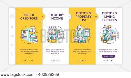 Creditor And Debtor Contract Onboarding Vector Template. Bankruptcy. Living Expense. List Of Credito