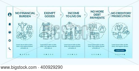 Benefit Being Credit Free Onboarding Vector Template. No More Debt Payments. No Creditor Prosecution