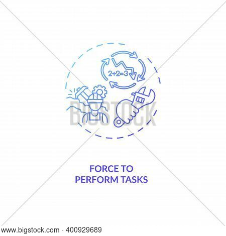 Force To Perform Tasks Concept Icon. Ergonomic Stressor Idea Thin Line Illustration. Overloading Mus