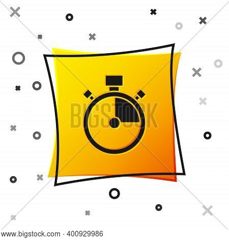 Black Stopwatch Icon Isolated On White Background. Time Timer Sign. Chronometer Sign. Yellow Square