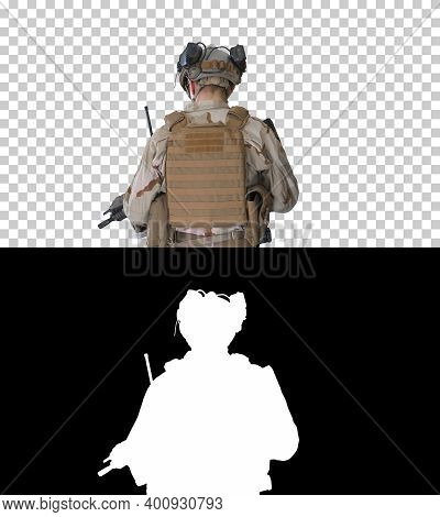 Ranger In Combat Uniform Walking, Alpha Channel With Silhouette