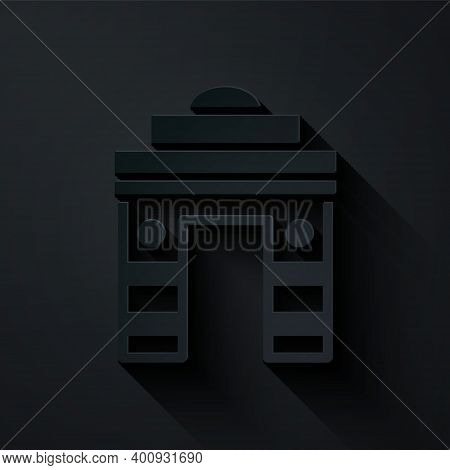 Paper Cut India Gate In New Delhi, India Icon Isolated On Black Background. Gate Way Of India Mumbai
