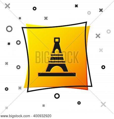 Black Eiffel Tower Icon Isolated On White Background. France Paris Landmark Symbol. Yellow Square Bu