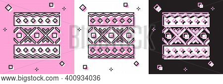 Set Ukrainian Ethnic Pattern For Embroidery Icon Isolated On Pink And White, Black Background. Tradi