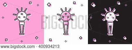 Set Mace, Symbol Of Ukrainian National Power Icon Isolated On Pink And White, Black Background. Trad