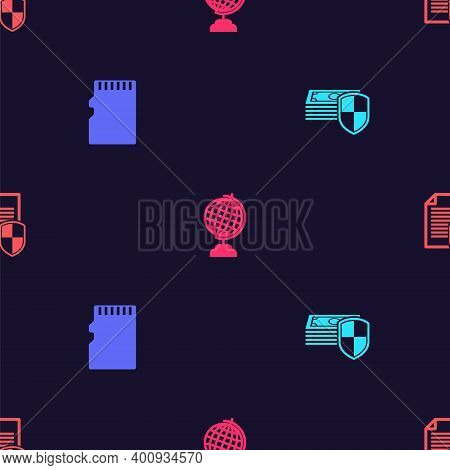 Set Money Protection, Micro Sd Memory Card, Earth Globe And Document On Seamless Pattern. Vector