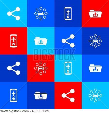 Set Share, Car Sharing, Flight Mode The Mobile And Folder Download Icon. Vector