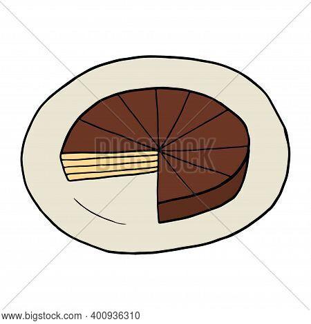 Vector Hand Drawn Doodle Prinzregententorte. Bavarian Torte. German Dessert. Design Sketch Element F
