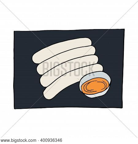 Vector Hand Drawn Doodle Weisswurst, Traditional Bavarian Sausage. German Cuisine Dish. Design Sketc