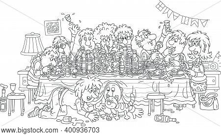 Joyous Celebration With Funny, Noisy And Slightly Drunk Guests At Festive Tableful Of Various Drinks