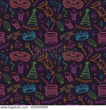 Carnival Symbols, Seamless Pattern In Doodle Style On Dark Background