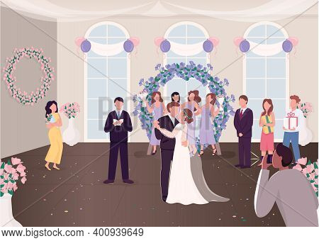 Wedding Ceremony Celebration Flat Color Vector Illustration. Newly Married Couple With Guests. Bride