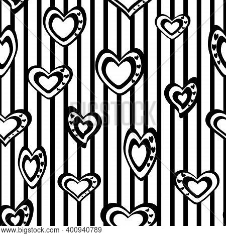 Seamless Vector Pattern. Stylized Black And White Hearts On A Striped Background.
