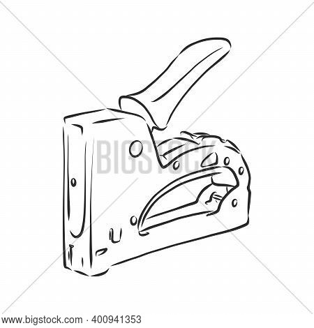 Staple Gun. Construction Stapler Vector Sketch Illustration