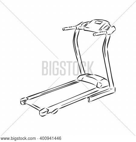 Sports Trainer , Treadmill, Vector Sketch Illustration. Treadmill Doodle Style Sketch Illustration H