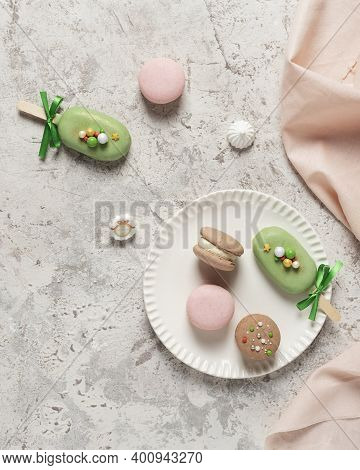 French Sweet Macaroons On The Ligh Table
