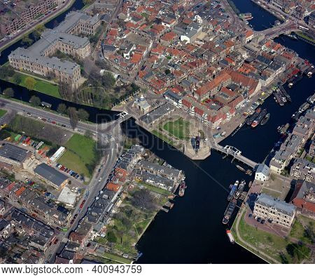 Leiden, Holland, April 22- 1987: Historical aerial photo of the Galgewater, Rembrant Mill, Morspoort and National Museum of Antiquities in Leiden, Holland