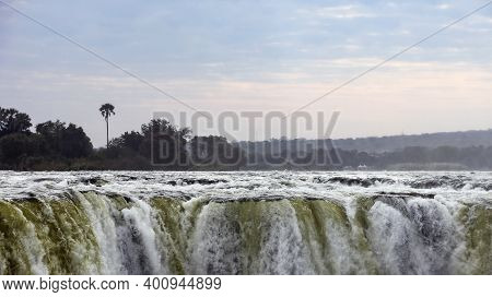 Landscape View In The Bed Of The Zambezi River Victoria Falls On The Border Of Zambia And Zimbabwe.