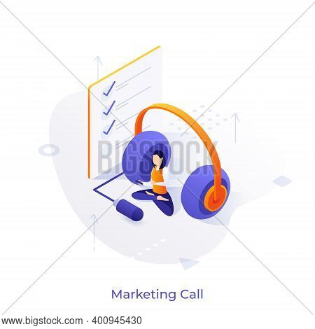 Woman With Phone Sitting Cross-legged, Headphones, Check List. Concept Of Telephone Marketing, Telem