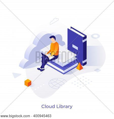 Man With Laptop Sitting On Pile Of Books. Concept Of Cloud Library, Electronic Literature Database,