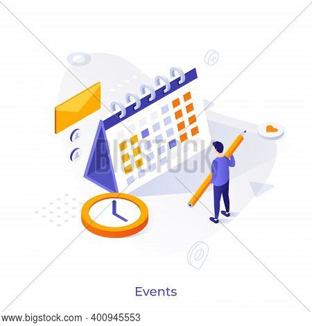 Man With Pencil Standing In Front Of Calendar Or Planner. Concept Of Monthly Event Planning, Time Ma