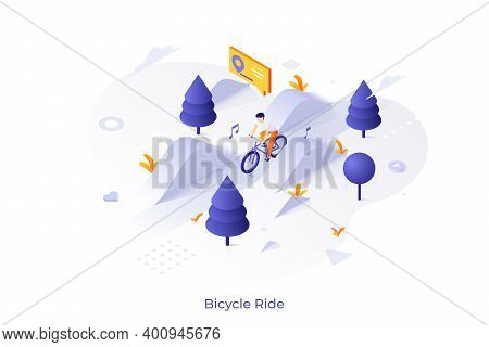 Man Riding Bicycle Along Road Or Bicyclist On Bike Taking Part In Race. Concept Of Cycling, Biking O