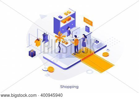 Seller And Buyers At Shop Counter On Giant Smartphone. Concept Of Mobile Application For Online Shop