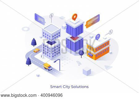 Map With Buildings, Automobiles Riding Along Streets, Location Marks. Concept Of Modern City Solutio