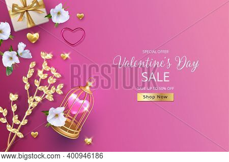 3d Realistic Valentines Banner. Elegant Background With A Golden Twig, Flowers And Birdcage