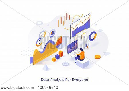 Concept With Man Or Analyst Working On Laptop And Analyzing Statistical Or Financial Information. Bi