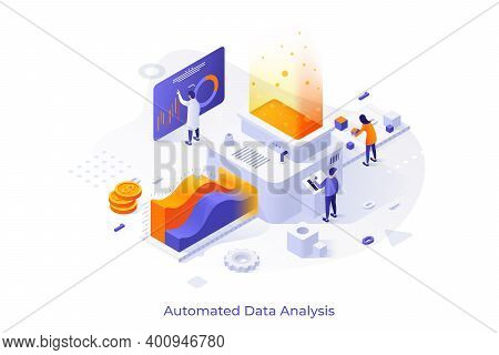 Concept With People Or Analysts Working On Conveyor And Place For Text. Automated Data Analysis, Fin