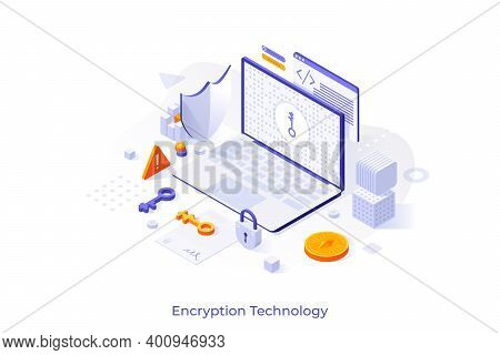 Concept With Laptop Computer, Cryptographic Protocol, Shield, Lock And Key. Encryption Technology, S