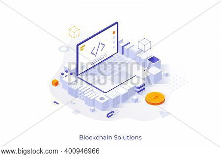 Concept With Laptop Computer Surrounded By Cubic Blocks. Blockchain Technology, Software Ad Equipmen