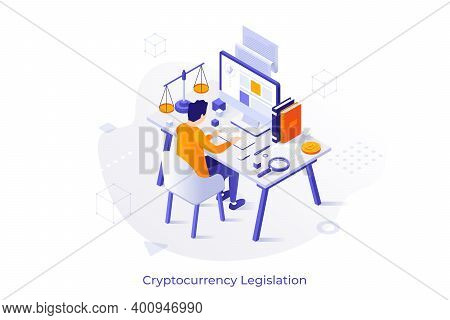 Conceptual Illustration With Man Sitting At Desk With Computer, Scales Of Justice And Books. Cryptoc