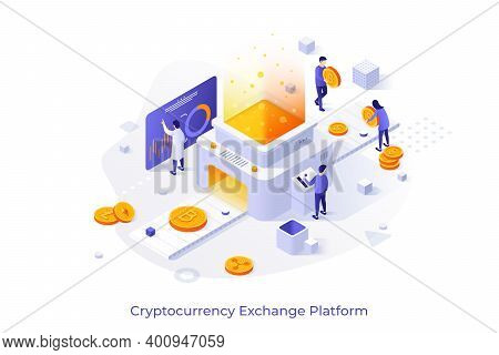 Conceptual Template With People Putting Crypto Coins On Belt Conveyor. Cryptocurrency Exchange Platf