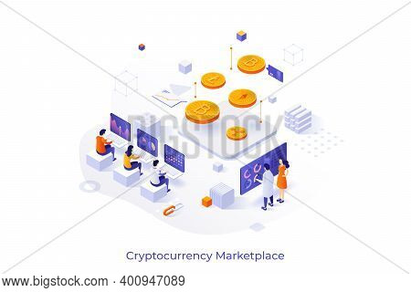 Conceptual Template With Group Of People Working On Laptop Computers And Giant Crypto Coins. Cryptoc
