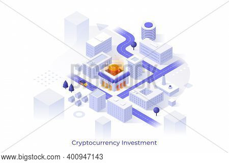 Conceptual Template With City Downtown Map, Modern Buildings, Streets And Bitcoin. Cryptocurrency In